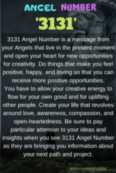 3131 Angel Number is a message from your Angels that live in the present moment and open your heart for new opportunities for creativity. Do things that make you feel positive, happy, and loving so that you can receive more positive opportunities.