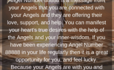 Angel Number 88888 is a message from your Angels that you are connected with your Angels and they are offering their love, support, and help. You can manifest your heart's true desires with the help of the Angels and your inner-wisdom.