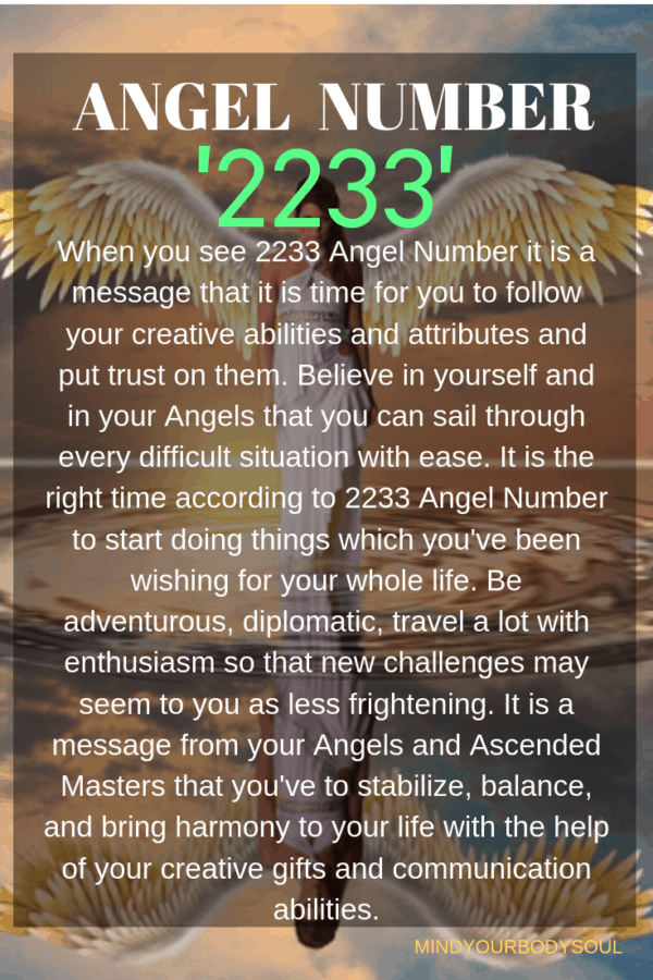 When you see 2233 Angel Number it is a message that it is time for you to follow your creative abilities and attributes and put trust on them. Believe in yourself and in your Angels that you can sail through every difficult situation with ease.