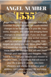 Angel Number 1555 is a message from your Guardian Angels that there are much-needed changes to be taken place in your life. Your works, thoughts, and ideas are bringing these changes to empower you.