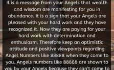 When you see Angel Number 88888 regularly it is a message from your Angels that wealth and wisdom are manifesting for you in abundance. It is a sign that your Angels are pleased with your hard work and they have recognized it.