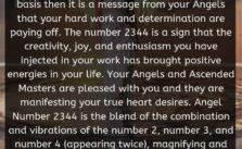 When you see 2344 Angel Number on a regular basis then it is a message from your Angels that your hard work and determination are paying off.