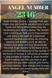Angel Number 2346 is a message from your Angels that you have to pay emphasis in your home and family affairs while they are manifesting your heart's desires.