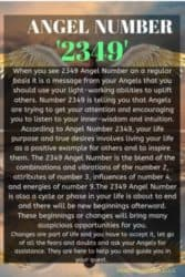 When you see 2349 Angel Number on a regular basis it is a message from your Angels that you should use your light-working abilities to uplift others. Number 2349 is telling you that Angels are trying to get your attention and encouraging you to listen to your inner-wisdom and intuition.