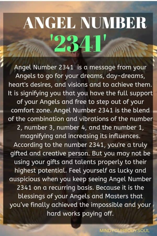 Angel Number 2341  is a message from your Angels to go for your dreams, day-dreams, heart's desires, and visions and to achieve them. It is signifying you that you have the full support of your Angels and free to step out of your comfort zone.