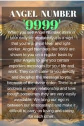 Angel Numbers like 9999 are shown to you on a regular basis by your Angels to give you certain important messages for your life and work. They can't come to you directly and decipher the message to you because of the divine order.