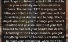 The 1333 Angel Number is a message from your Angels to listen to your intuition and to use your creativity and communication talents. The number 1333 is urging you to utilize your talents to their optimum level and to achieve your dreams and to help others.