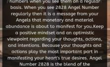 There are some special meaning of the numbers when you see them on a regular basis. When you see 2828 Angel Number regularly then it is a message from your Angels that monetary and material abundance is about to manifest for you.