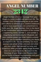 Angel Number 2342 is a message from your Angels to have a stable and balanced life. The number 2342 is encouraging you to put some extra efforts to enhance your creative endeavors and to have experiences and contentment to fulfill your life.