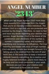When you see Angel Number 2343 more than once recently it is a message from the Angels that you're an insanely creative individual.