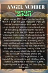 When you see 2525 Angel Number too often then it is a sign that your Angels are urging you to make positive changes to achieve success. Let go the old and obsolete methods and ways of doing things and embrace the new and exciting life path.