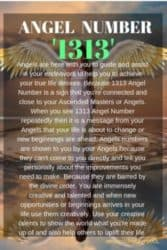 When you see 1313 Angel Number repeatedly then it is a message from your Angels that your life is about to change or new beginnings are ahead.