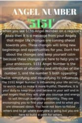 When you see 5151 Angel Number on a regular basis then it is a message from your Angels that major life changes are coming ahead towards you. These changes will bring new beginnings and opportunities for you.