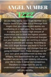 Do you keep seeing 1222 Angel Number on a regular basis? If yes, then it is a message from Angels that your dreams and desires are manifesting at a rapid pace.
