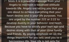 When you see Angel Number 222 on a regular basis it is a powerful message from your Angels to maintain a balanced attitude towards life. Angels are telling you that you are about to achieve everything that your heart desires and is your life purposes.