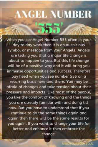 When you see Angel Number 555 often in your day to day work then it is an auspicious symbol or message from your Angels. Angels are telling you that a major life change is about to happen to you.