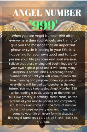 Angel Number 999 and 9:99 is urging you to not to fear and doubt about the changes that are about to happen in your life. Give your fear and doubts to your Angels and the highest Universal Energies to transform it into energy and positivity.
