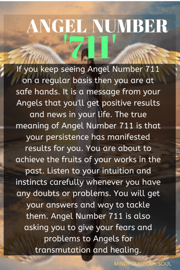 Angel Number 711 is also asking you to give your fears and problems to Angels for transmutation and healing.