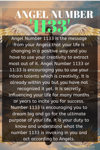 Angel Number 1133 is the message from your Angels that your life is changing in a positive way and you have to use your creativity to extract most out of it.