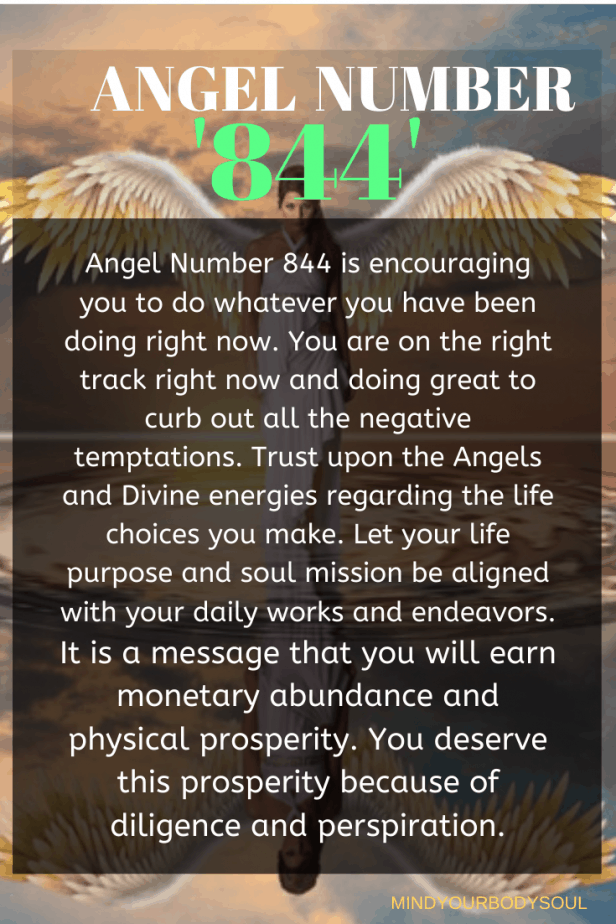 Angel Number 844 is encouraging you to do whatever you have been doing right now. You are on the right track right now and doing great to curb out all the negative temptations.