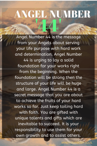 Angel Number 44 is the message from your Angels about serving your life purpose with hard work and determination.